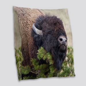 Christmas Bison Burlap Throw Pillow