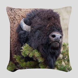 Christmas Bison Woven Throw Pillow
