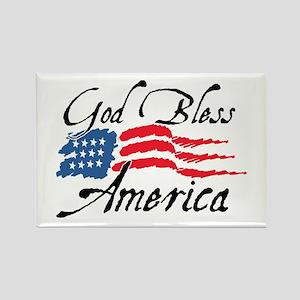 God Bless America v2 Rectangle Magnet