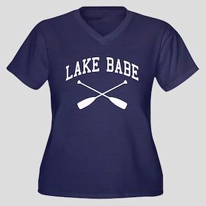 Lake Babe Women's Plus Size V-Neck Dark T-Shirt
