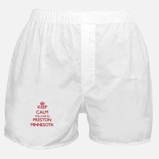 Keep calm you live in Preston Minneso Boxer Shorts