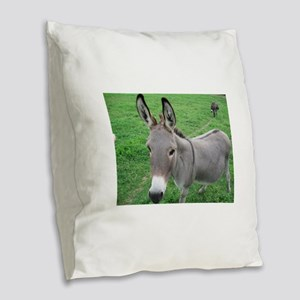 Miniature Donkey Burlap Throw Pillow