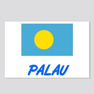 Palau Flag Artistic Blue Postcards (Package of 8)