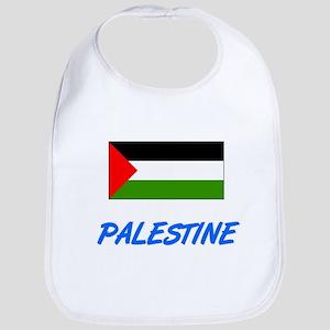 Palestine Flag Artistic Blue Design Baby Bib