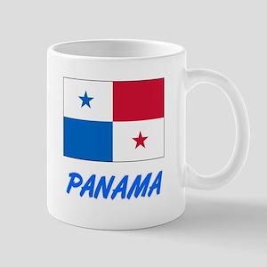 Panama Flag Artistic Blue Design Mugs