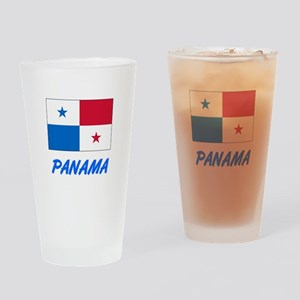 Panama Flag Artistic Blue Design Drinking Glass