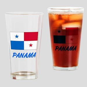 Panama Flag Artistic Blue Design Drinking Glass