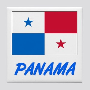 Panama Flag Artistic Blue Design Tile Coaster