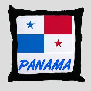 Panama Flag Artistic Blue Design Throw Pillow