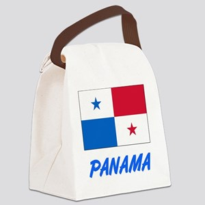 Panama Flag Artistic Blue Design Canvas Lunch Bag