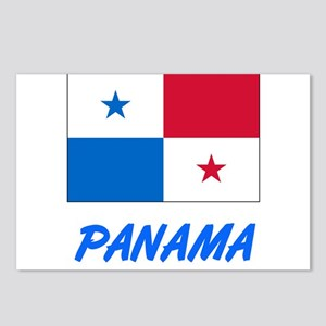 Panama Flag Artistic Blue Postcards (Package of 8)