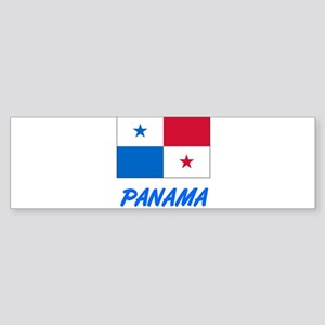 Panama Flag Artistic Blue Design Bumper Sticker