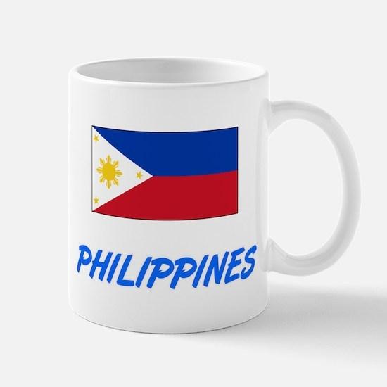 Philippines Flag Artistic Blue Design Mugs