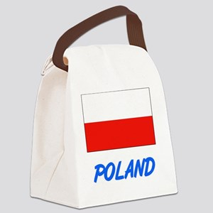 Poland Flag Artistic Blue Design Canvas Lunch Bag
