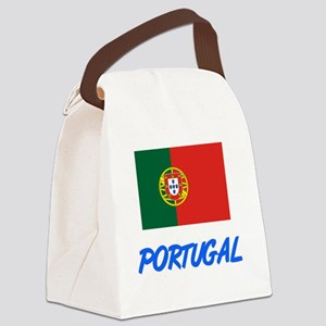 Portugal Flag Artistic Blue Desig Canvas Lunch Bag