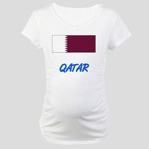 Qatar Flag Artistic Blue Design Maternity T-Shirt