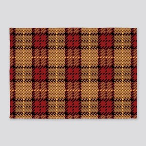 Red-Gold Pixel Plaid 5'x7'Area Rug