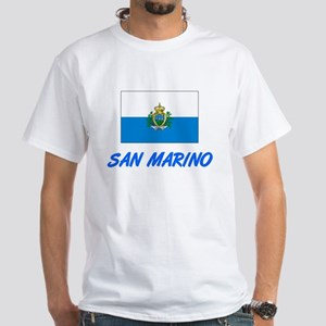 San Marino Flag Artistic Blue Design T-Shirt