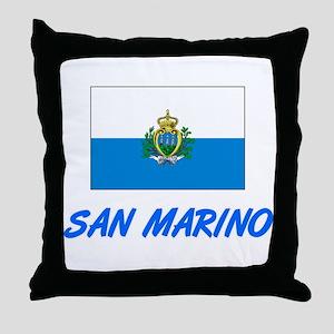 San Marino Flag Artistic Blue Design Throw Pillow