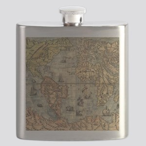 World Map Vintage Atlas Historical Flask