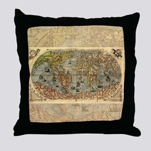 World Map Vintage Atlas Historical Throw Pillow
