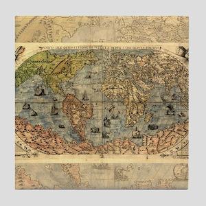 World Map Vintage Atlas Historical Tile Coaster