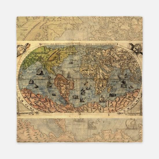 World Map Vintage Atlas Historical Queen Duvet