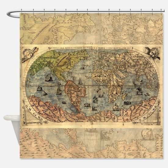 World Map Vintage Atlas Historical Shower Curtain