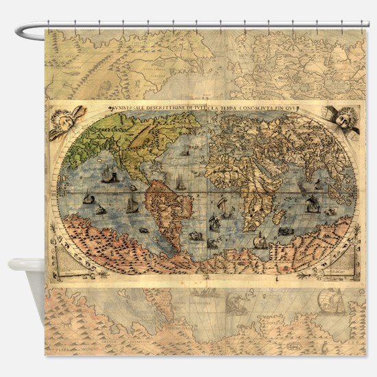 Old world maps shower curtains cafepress world map vintage atlas historical shower curtain sciox Gallery