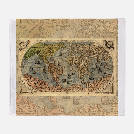 World Map Vintage Atlas Historical Throw Blanket