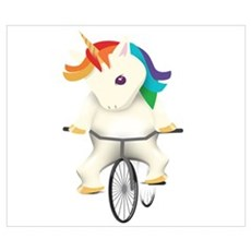 Unicorn Cyclist Cyclocross Cyclecross Mou Wall Art Poster