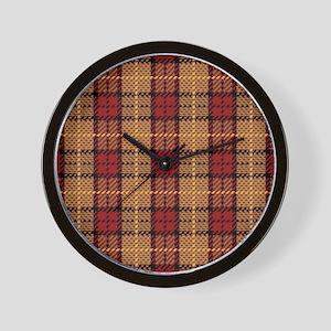 Red-Gold Pixel Plaid Wall Clock
