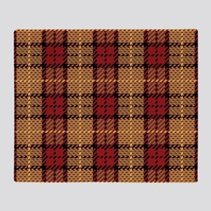 Red-Gold Pixel Plaid Throw Blanket
