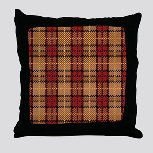 Red-Gold Pixel Plaid Throw Pillow