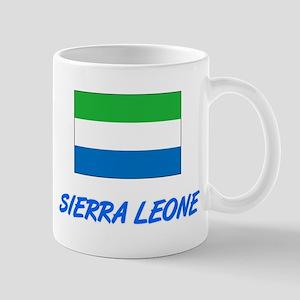 Sierra Leone Flag Artistic Blue Design Mugs