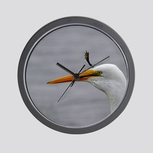 egret and frog Wall Clock
