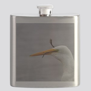 egret and frog Flask