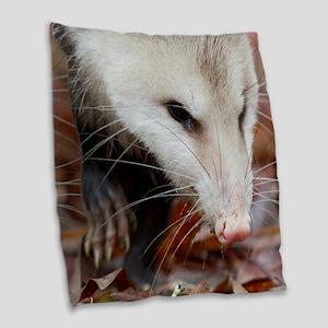 Opossum Burlap Throw Pillow