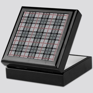 Grey Pixel Plaid Keepsake Box
