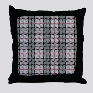 Grey Pixel Plaid Throw Pillow