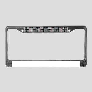 Grey Pixel Plaid License Plate Frame