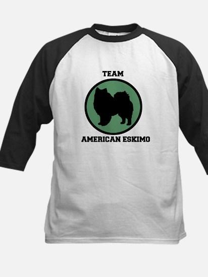 Team  American Eskimo (green) Kids Baseball Jersey