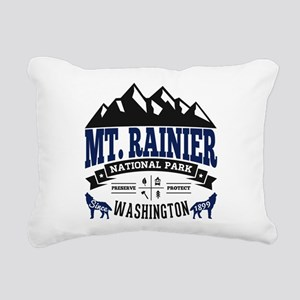 Mt. Rainier Vintage Rectangular Canvas Pillow