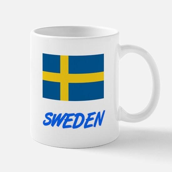Sweden Flag Artistic Blue Design Mugs
