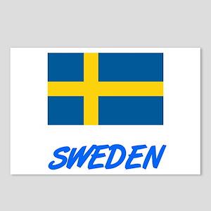 Sweden Flag Artistic Blue Postcards (Package of 8)