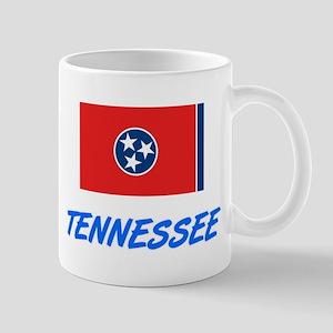 Tennessee Flag Artistic Blue Design Mugs