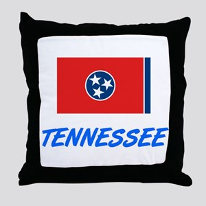 Tennessee Flag Artistic Blue Design Throw Pillow