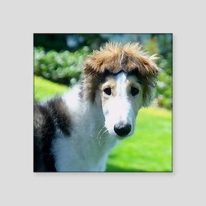 """Borzoi Bonnet Ears Square Sticker 3"""" x 3"""""""