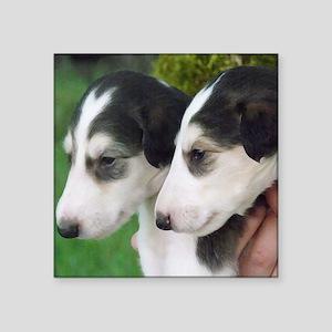 """Borzoi Puppies Square Sticker 3"""" x 3"""""""