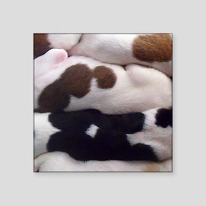 """Borzoi Puppy Pile Square Sticker 3"""" x 3"""""""